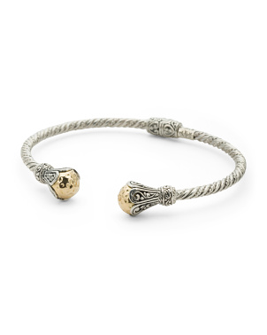 Made In Bali Sterling Silver And 18kt Gold Cable Bracelet