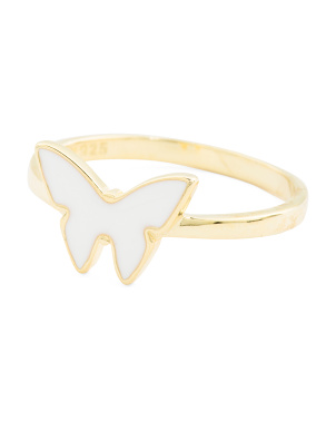 14k Gold Plated Sterling Silver Enamel Butterfly Ring