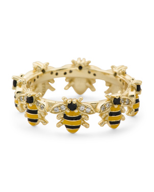 14k Gold Plated Sterling Silver Enamel Cz Bee Eternity Ring