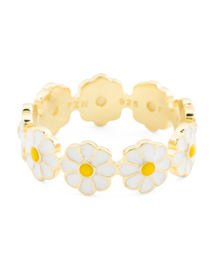 14k Gold Plated Sterling Silver Enamel Daisies Eternity Ring