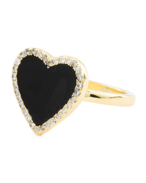 14k Gold Plated Sterling Silver Enamel Heart Cz Ring