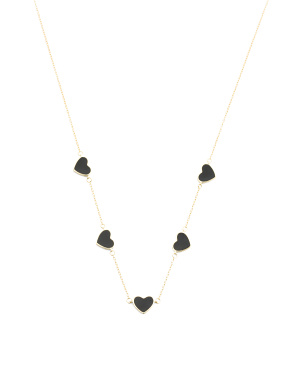 14k Gold Plated Sterling Silver Enamel Hearts Necklace