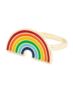 14k Gold Plated Sterling Silver Enamel Rainbow Ring