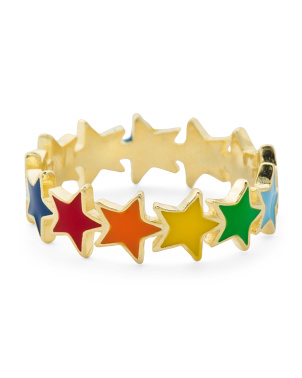 14k Gold Plated Sterling Silver Enamel Rainbow Stars Ring