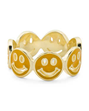 14k Gold Plated Sterling Silver Enamel Smiley Eternity Ring