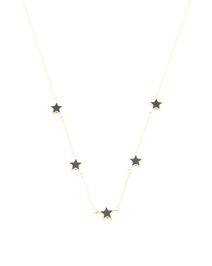 14k Gold Plated Sterling Silver Enamel Stars Necklace