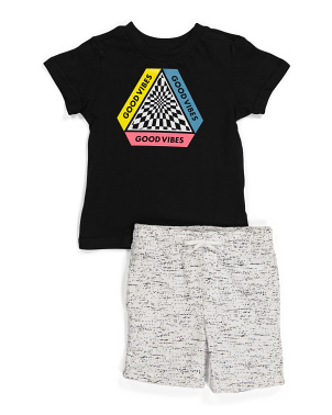 Little Boy Good Vibes Checkerboard Short Set