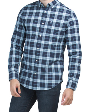 Large Plaid Oxford Long Sleeve Woven Shirt