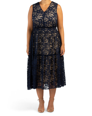 Plus Tiered Lace Sleeveless Dress