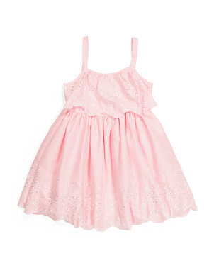 Toddler Girls Eyelet Trim Dress