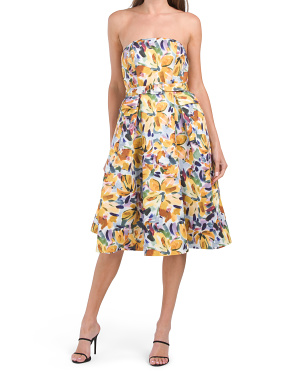 Printed Strapless Cocktail Dress