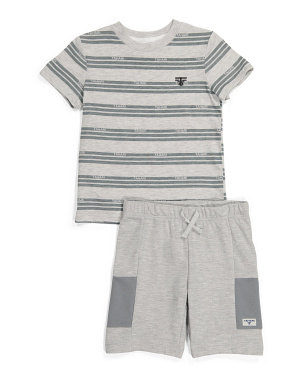 Little Boy Striped Tee And Knit Shorts Set