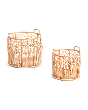 Natural Rattan Round Basket Collection