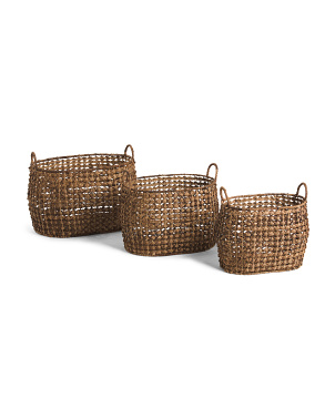X Weave Braided Oval Basket Collection