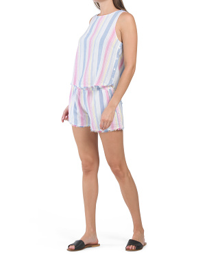 Linen Rainbow Stripe Short Collection