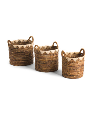 Round Banana Basket With Rattan Decoration Collection