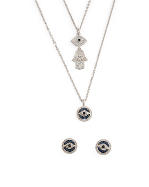 Sterling Silver Sapphire White Topaz Evil Eye Lucky Collection